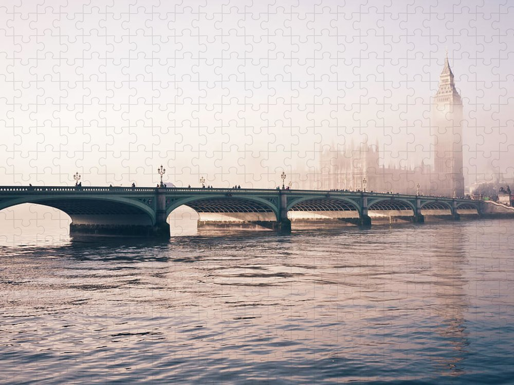 Clock Tower Puzzle featuring the photograph Big Ben And Houses Of Parliament In The by Cirano83
