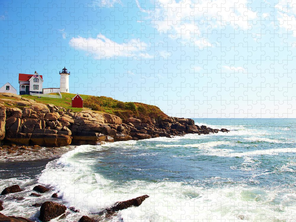 Scenics Puzzle featuring the photograph Cape Neddick Nubble Lighthouse by Thomas Northcut