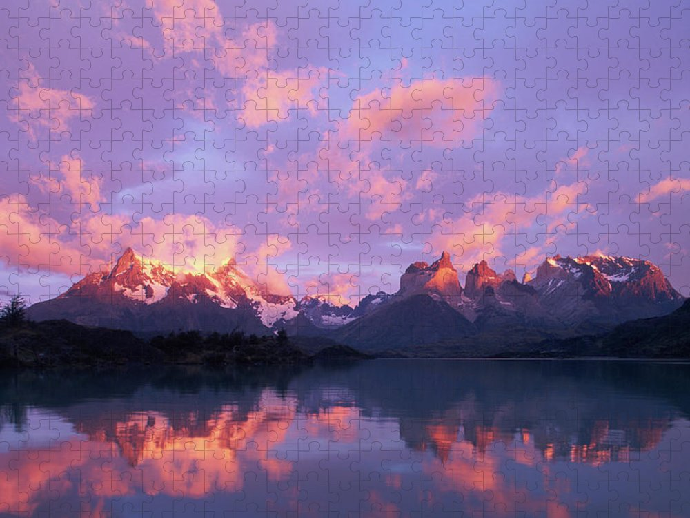 Scenics Puzzle featuring the photograph Chile, Patagonia, Torres Del Paine Np by Paul Souders