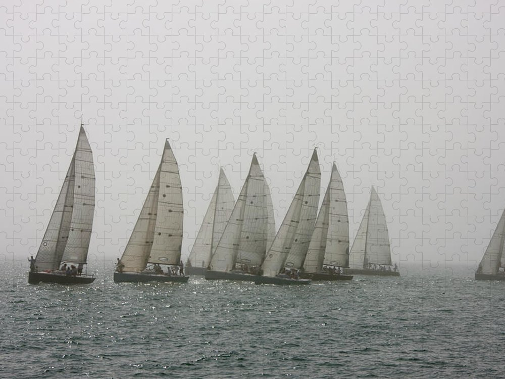 Teamwork Puzzle featuring the photograph Competitive Sailing In Key West by Schedivy Pictures Inc.