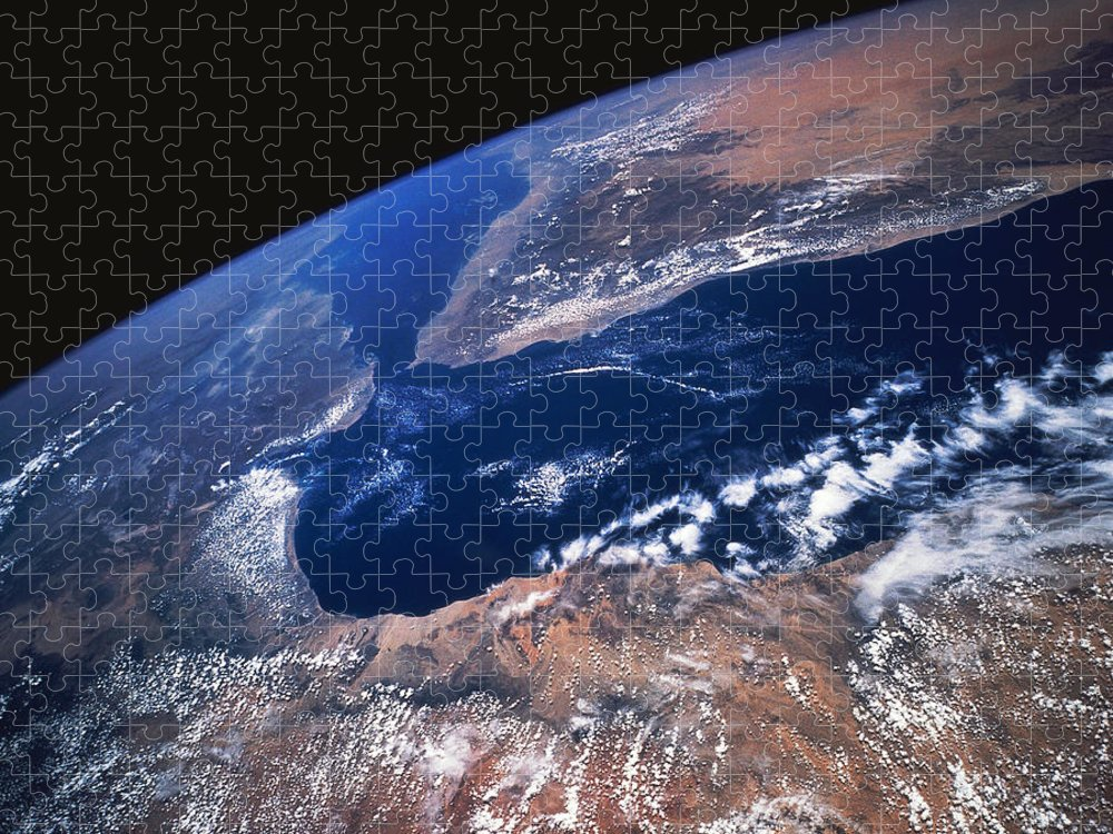 Black Background Puzzle featuring the photograph Earth From Space by Stocktrek