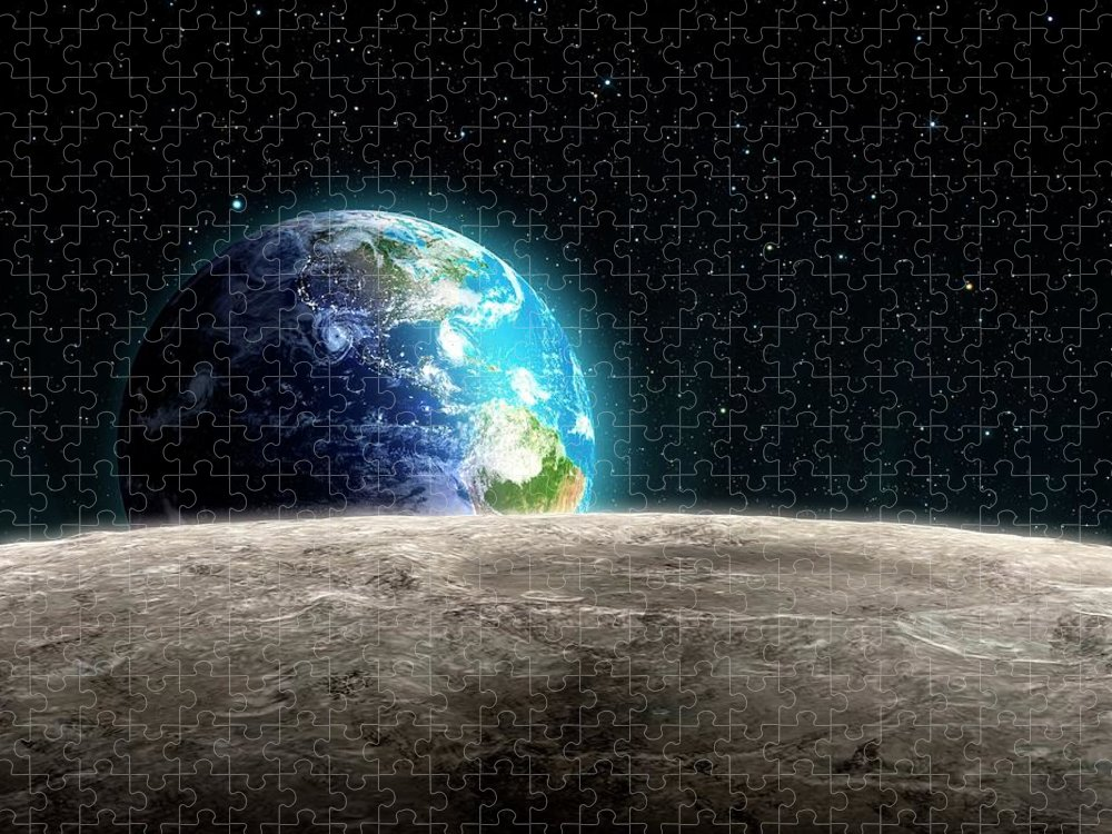 Shadow Puzzle featuring the digital art Earthrise From The Moon, Artwork by Andrzej Wojcicki