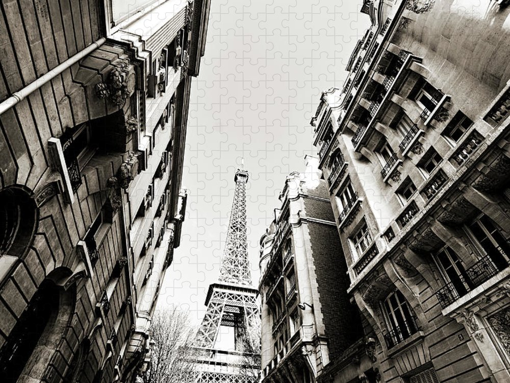 Built Structure Puzzle featuring the photograph Eiffel Tower Between Buildings In by Flory