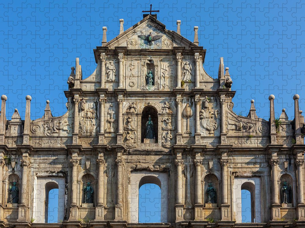 Chinese Culture Puzzle featuring the photograph Facade Of St. Pauls Cathedrail, Macau by Stuart Dee