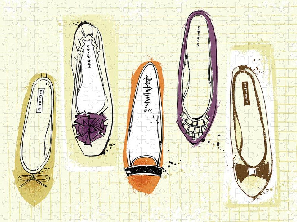 Purple Puzzle featuring the digital art Feminine Shoes by Eastnine Inc.