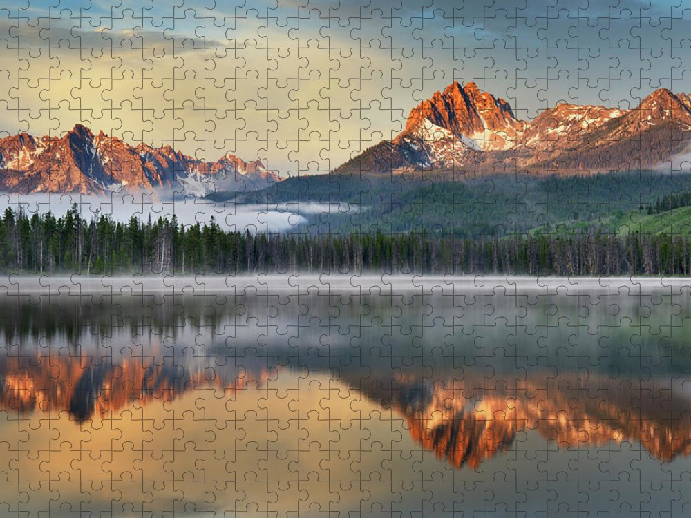Scenics Puzzle featuring the photograph Little Redfish Lake, Sawtooth Mountains by Alan Majchrowicz