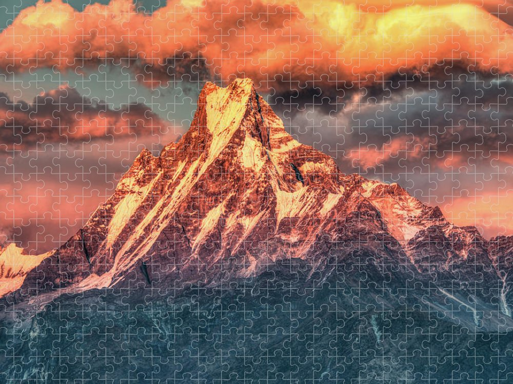 Tranquility Puzzle featuring the photograph Machapuchare Mountain, Fish Tail In by Emad Aljumah