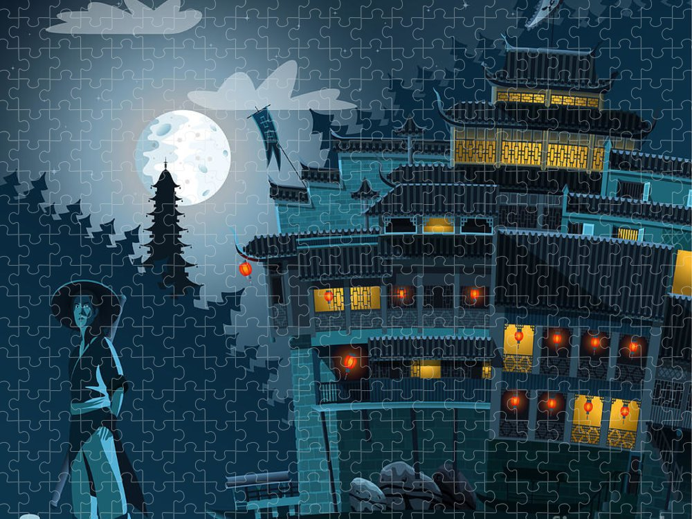Castle Puzzle featuring the digital art Martial Arts Fighter And Ancient by Nikola Knezevic