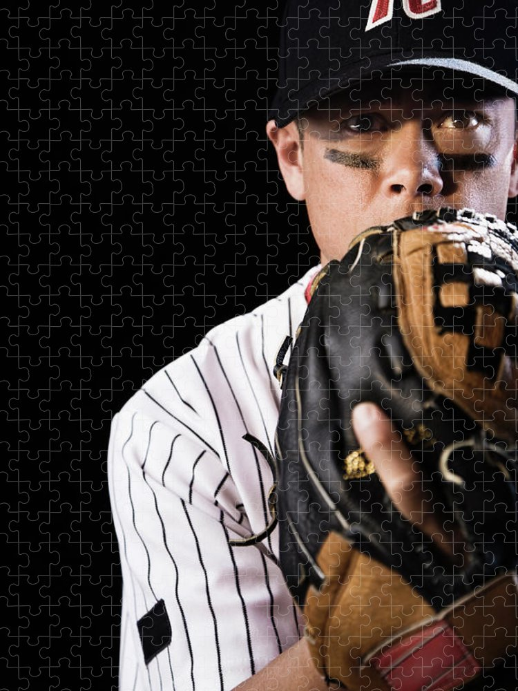 Baseball Cap Puzzle featuring the photograph Mixed Race Baseball Player Pitching by Hill Street Studios