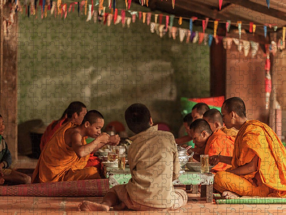 Young Men Puzzle featuring the photograph Monks At Breakfast, Wat Monastery by Cultura Rm Exclusive/gary Latham