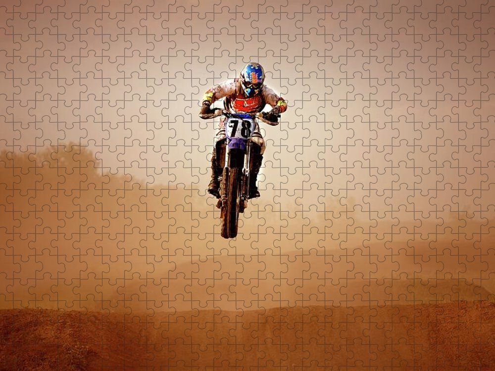 Crash Helmet Puzzle featuring the photograph Motocross Rider by Design Pics