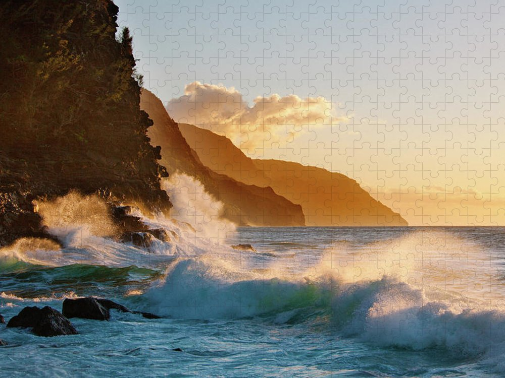 Tranquility Puzzle featuring the photograph Na Pali Coast Kauai by M Swiet Productions