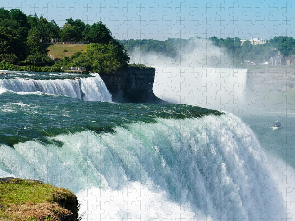Scenics Puzzle featuring the photograph Niagara Falls From The Usa Side by Franckreporter