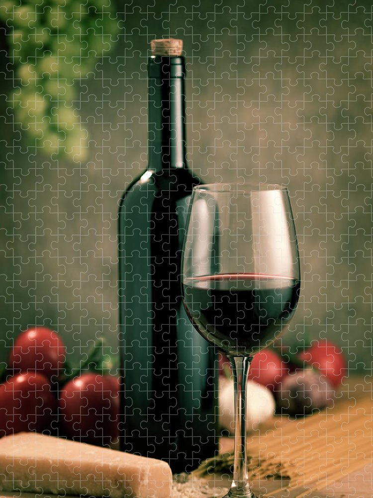 Cheese Puzzle featuring the photograph Red Wine And Food, Italian Style by Kontrast-fotodesign