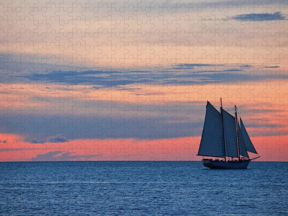 Sailboat Puzzle featuring the photograph Sailboat At Sunset by Thepalmer