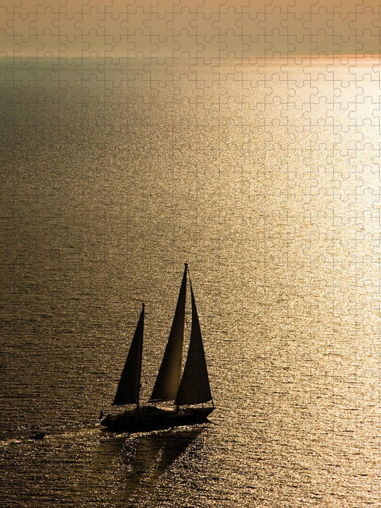 Curve Puzzle featuring the photograph Sailing At Sunset by Mbbirdy