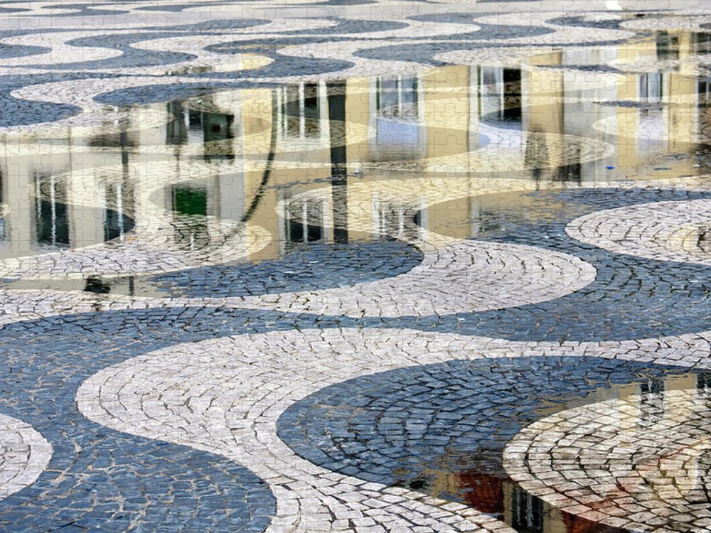 Curve Puzzle featuring the photograph Sidewalk In Lisbon, Portugal by Typo-graphics