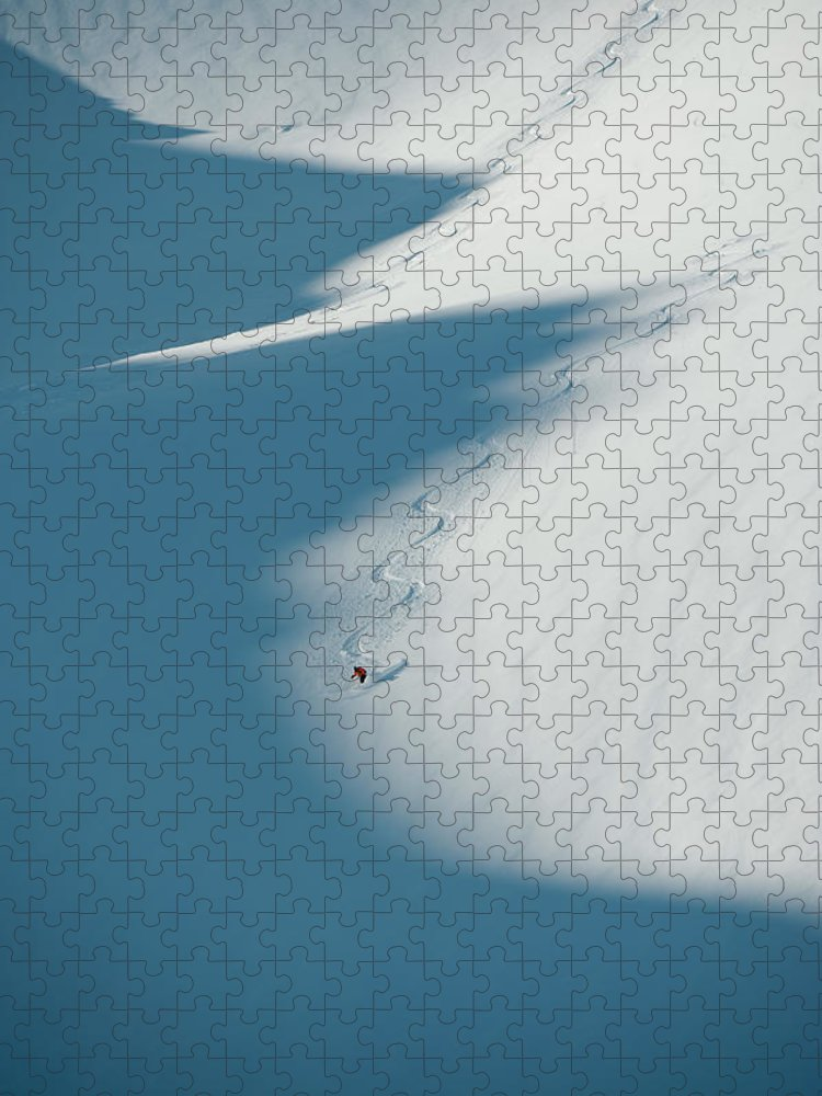 Scenics Puzzle featuring the photograph Ski Guide At Work by Topher Donahue