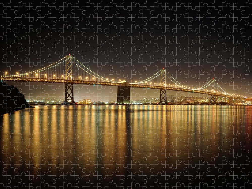 Tranquility Puzzle featuring the photograph The Bay Bridge - San Francisco by Www.35mmnegative.com