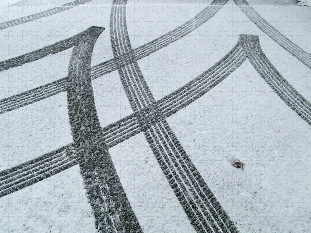 Black Color Puzzle featuring the photograph Tire Tracks In Snow, Winter by Jerry Whaley