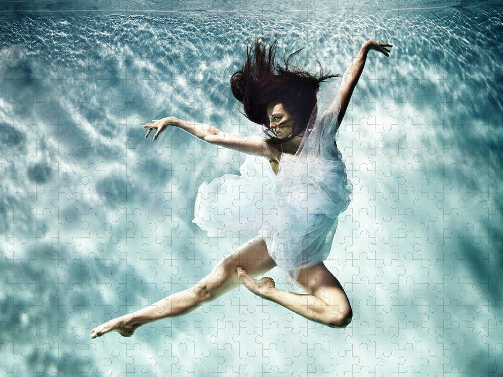 Ballet Dancer Puzzle featuring the photograph Underwater Ballet by Henrik Sorensen