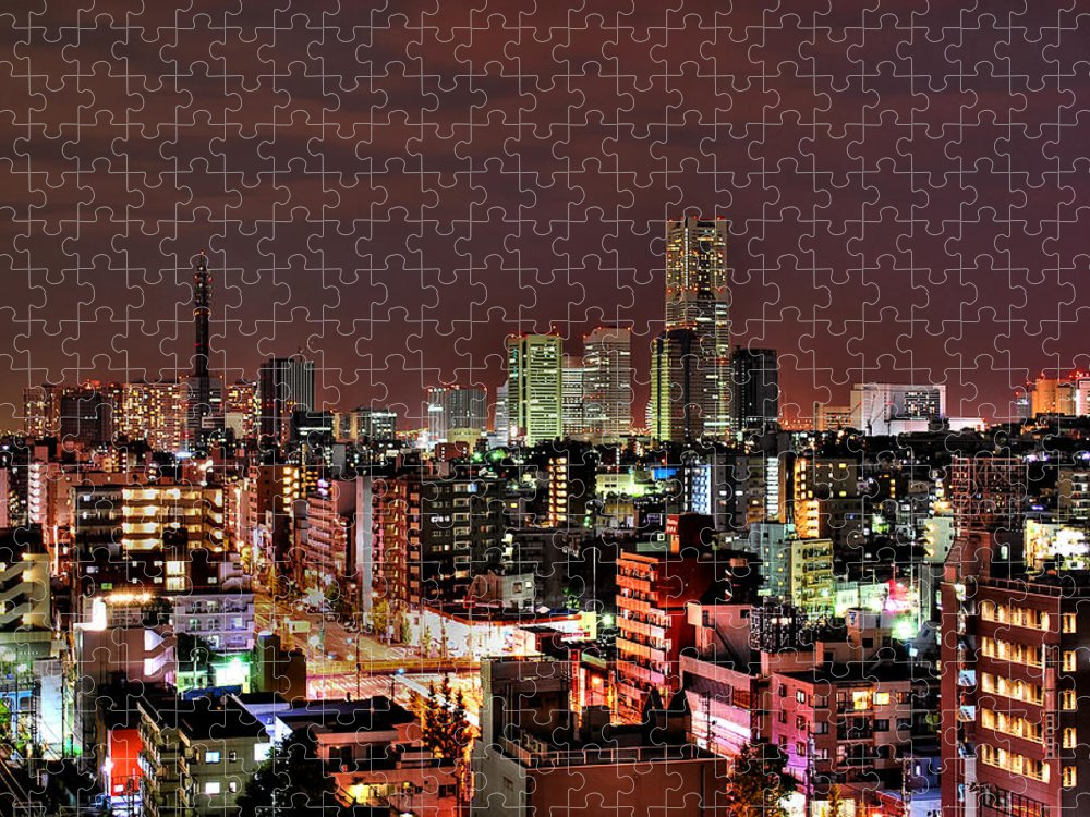 Tranquility Puzzle featuring the photograph Yokohama Nightscape by Copyright Artem Vorobiev