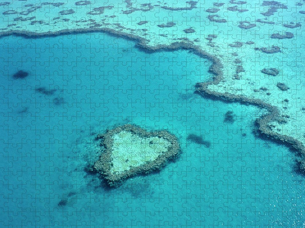 Seascape Puzzle featuring the photograph Aerial Of Heart-shaped Reef At Hardy by Holger Leue