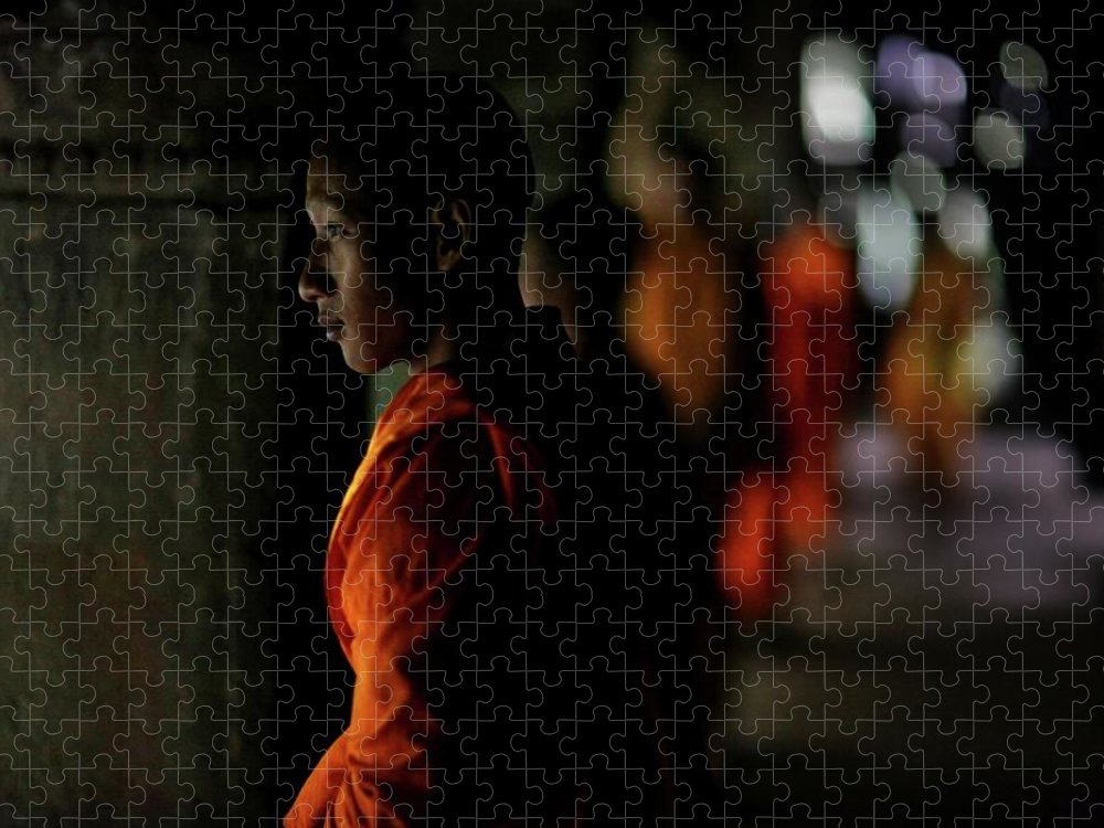 People Puzzle featuring the photograph Buddhist Monks At Angkor Wat Temple by Timothy Allen