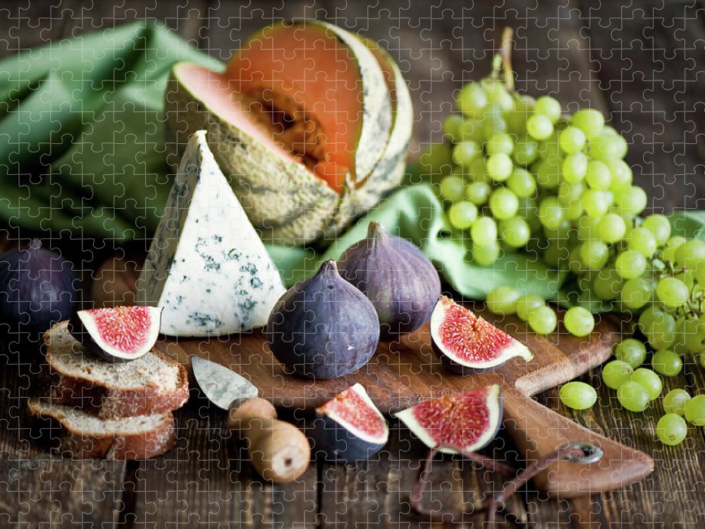 Large Group Of Objects Puzzle featuring the photograph Cheese Board by Verdina Anna