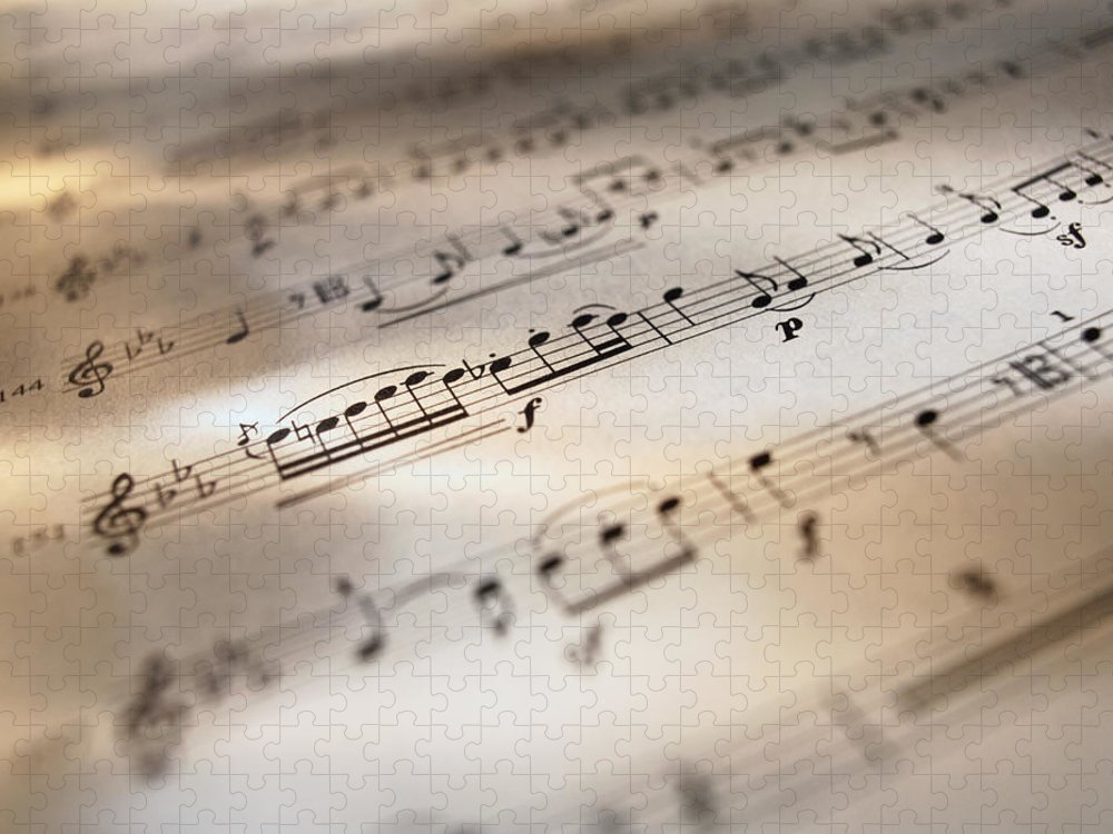 Sheet Music Puzzle featuring the photograph Detail Of Sheet Music by Ryan Mcvay