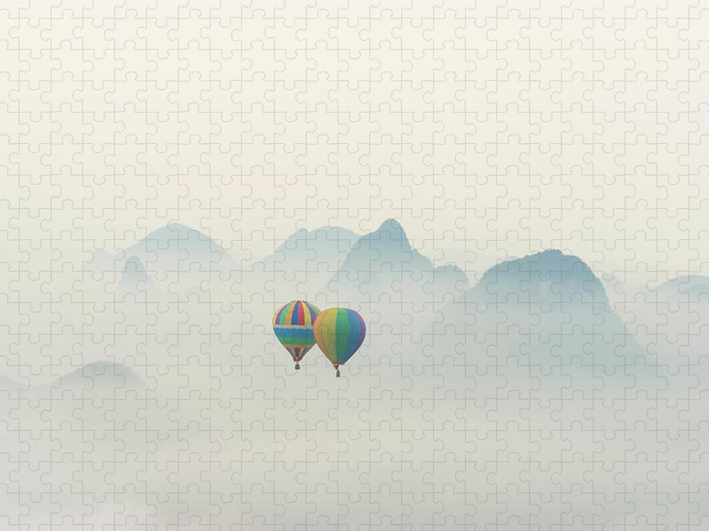 Scenics Puzzle featuring the photograph Hot Air Balloon Ride At Dawn Over Karst by Alex Linghorn