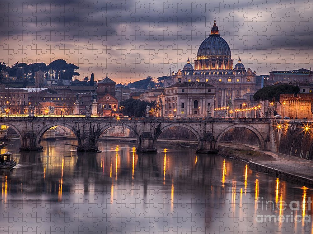 Capital Puzzle featuring the photograph Illuminated Bridge In Rome Italy by Sophie Mcaulay