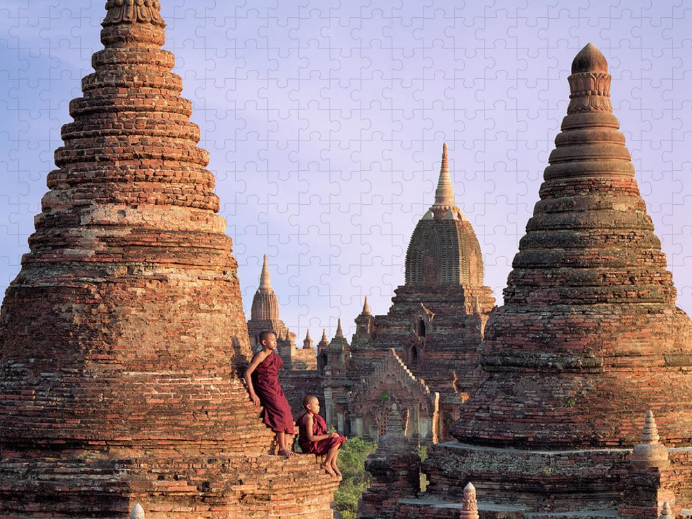 Child Puzzle featuring the photograph Myanmar, Bagan, Buddhist Monks On Temple by Martin Puddy
