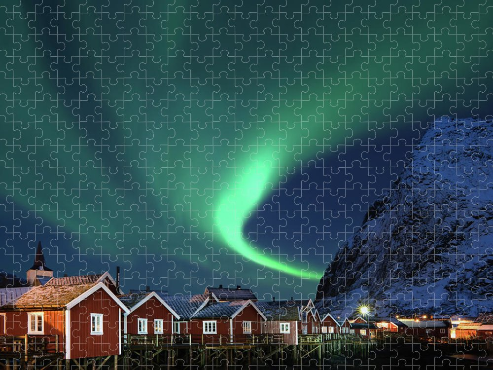 Scenics Puzzle featuring the photograph Northern Lights - Aurora Borealis Over by Relaxfoto.de