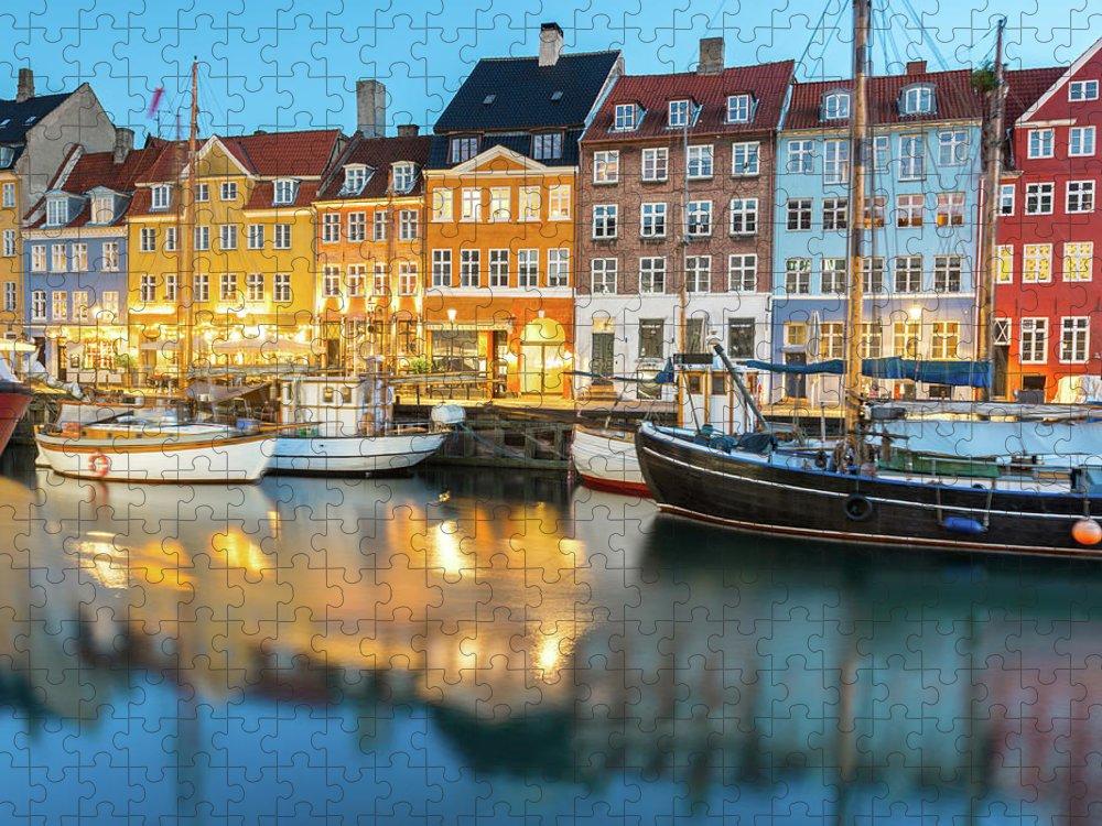 Orange Color Puzzle featuring the photograph Nyhavn, Copenhagen, Denmark by Chrishepburn