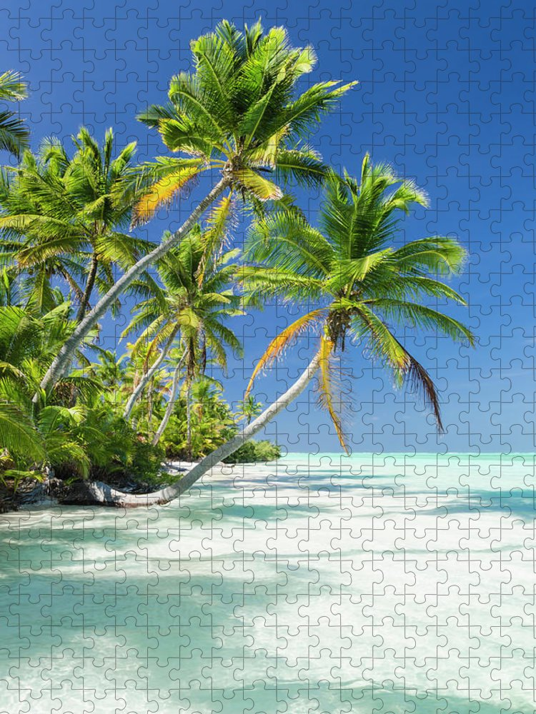 Scenics Puzzle featuring the photograph Tropical Beach Of An Atoll Lagoon And by Pete Atkinson