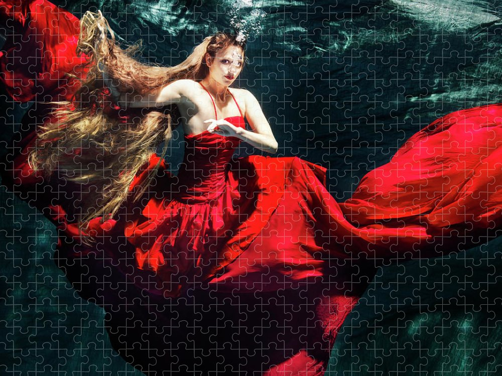 Ballet Dancer Puzzle featuring the photograph Female Dancer Performing Under Water by Henrik Sorensen