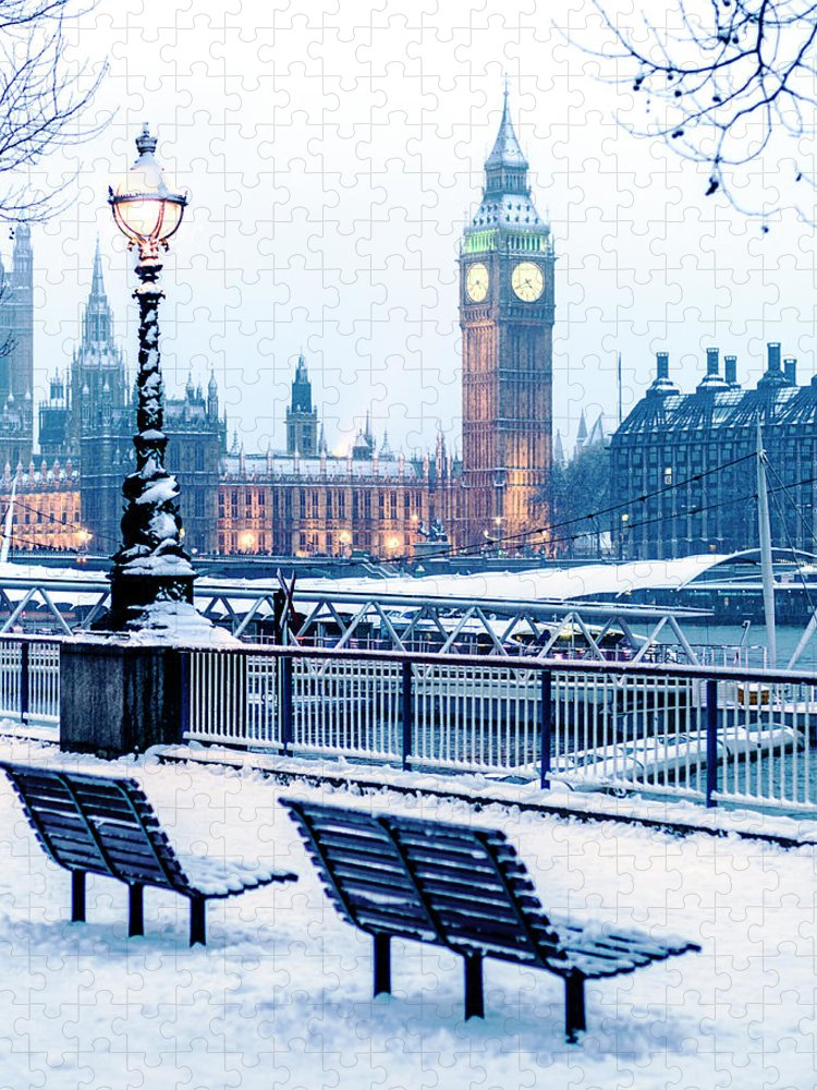 Clock Tower Puzzle featuring the photograph Houses Of Parliament In The Snow by Doug Armand