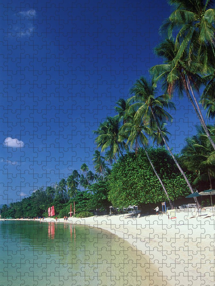 Water's Edge Puzzle featuring the photograph Palm Trees At Sandy Chaweng Beach by Otto Stadler