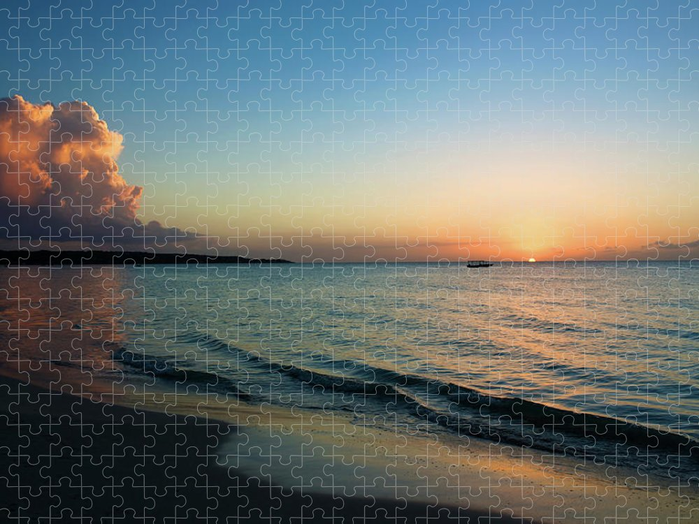 Tranquility Puzzle featuring the photograph Seven Mile Beach, Negril, Jamaica by Cultura Exclusive/karen Fox