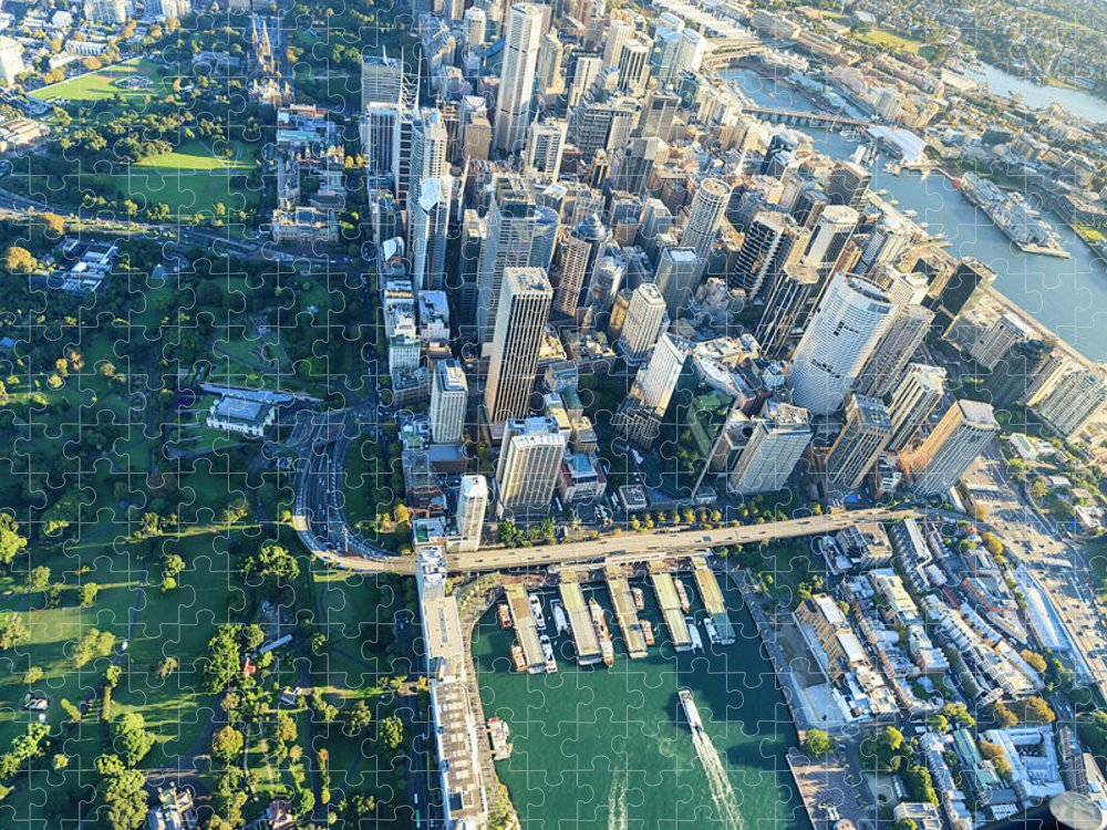 Shadow Puzzle featuring the photograph Sydney Downtown - Aerial View by Btrenkel