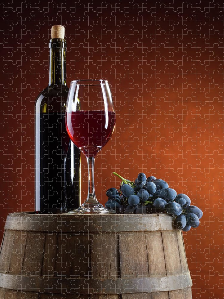 Rose Wine Puzzle featuring the photograph White Wine Composition by Valentinrussanov