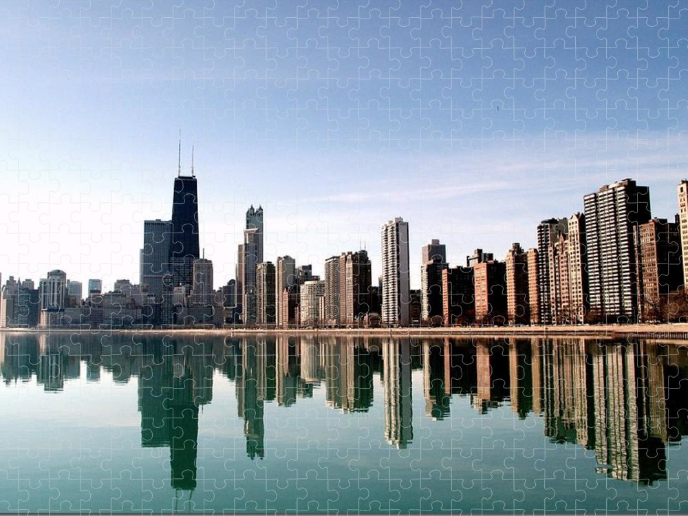 Lake Michigan Puzzle featuring the photograph Chicago Skyline by J.castro