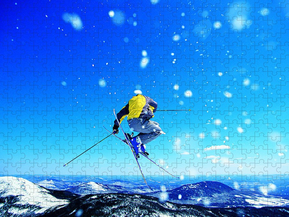 Skiing Puzzle featuring the photograph Man Skiing by Digital Vision.