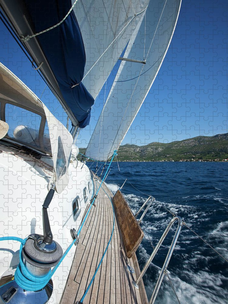 Curve Puzzle featuring the photograph Sailing In The Wind With Sailboat by Mbbirdy