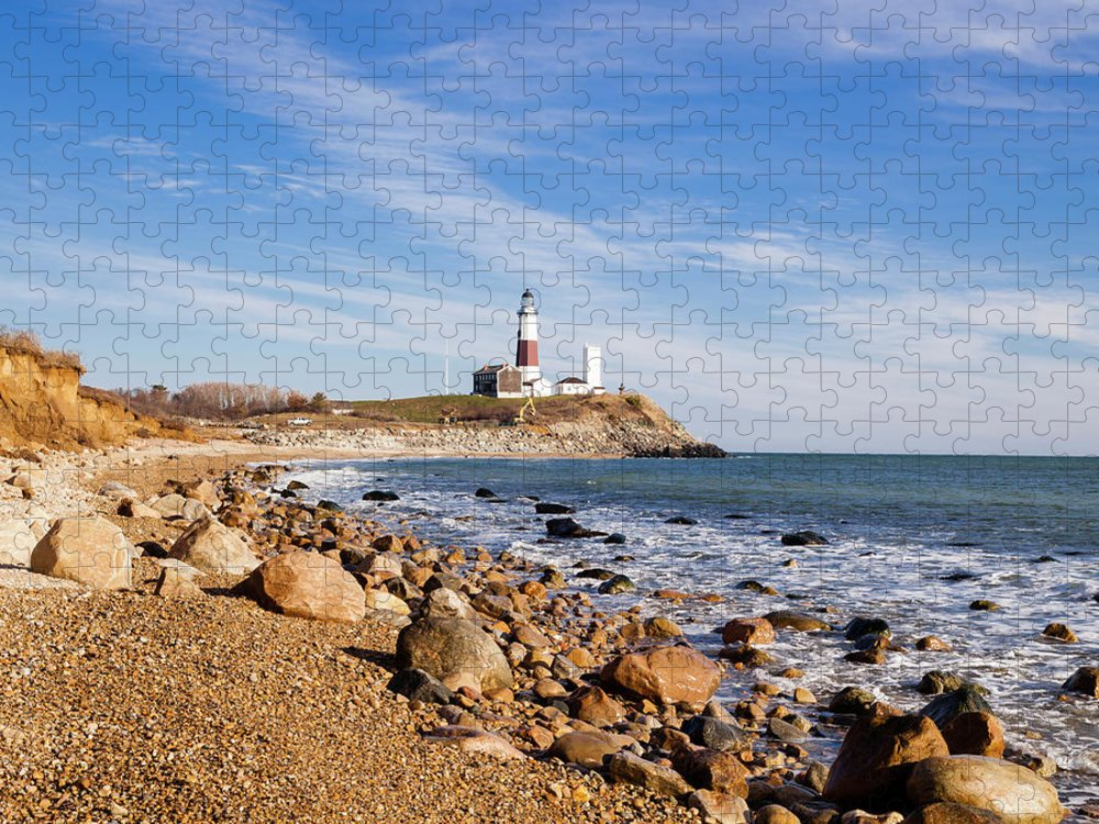 Headland Puzzle featuring the photograph Lighthouse At Montauk Point, Long by Alex Potemkin