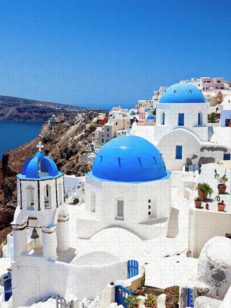 Saint George Church Puzzle featuring the photograph Santorini Famous Churches by Mbbirdy