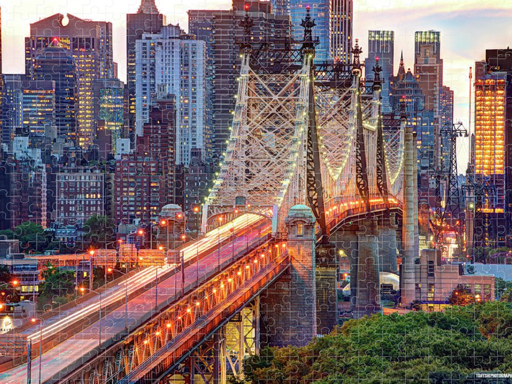 Architectural Column Puzzle featuring the photograph 59th Street Bridge by Tony Shi Photography