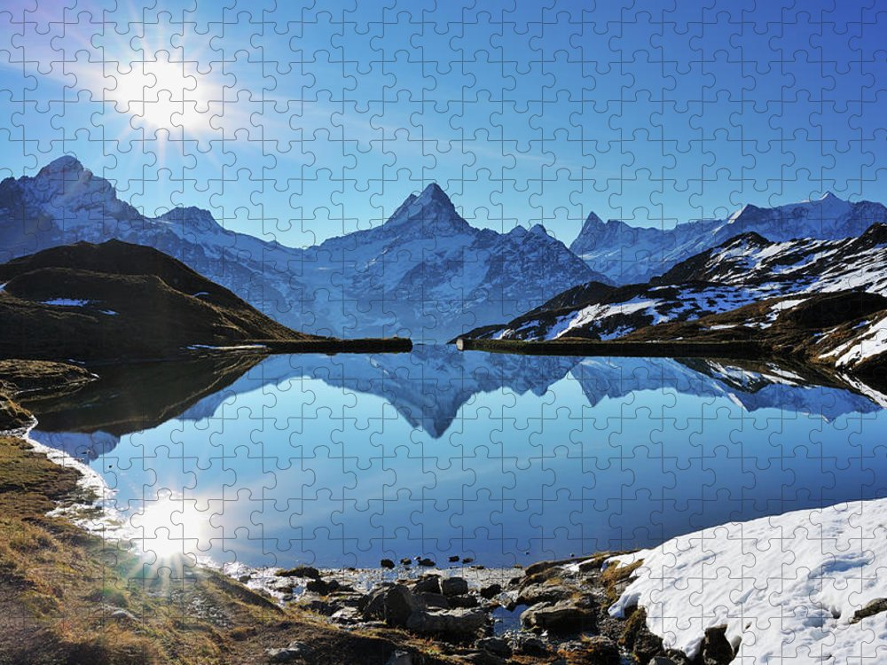 Scenics Puzzle featuring the photograph Lake Bachalpsee by Raimund Linke