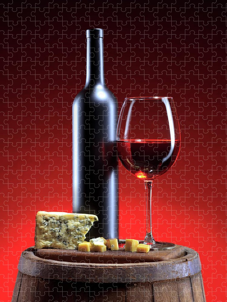 Cheese Puzzle featuring the photograph Red Wine Composition by Valentinrussanov